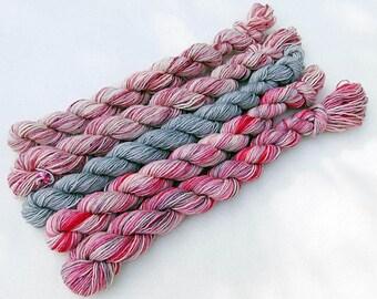 Handdyed Miniskeins, 75 Wool, 25 Nylon 100g 3.5 oz. #8