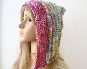 Pink Blue Pixie Hood - Hand Knit Hat - Pink Wool Pixie Hat - Pixie Elvin Hood - Women Elf Pixie Hat - Women Accessories - Clickclackknits