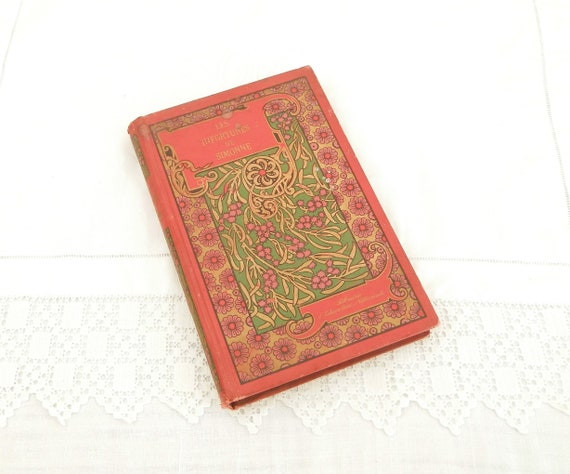 Antique French Victorian Hard Back Novel with Red and Gold Decorative Cover Les Infortunes de Simonne, 1900 School Pupil Prize from France