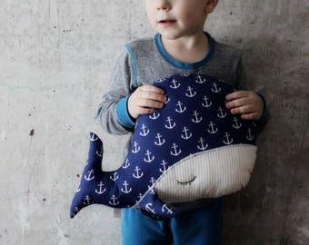 CHRISMAS IN JULY 20-26.07 Sleepy whale pillow nursery decor 10x15' primitive stuffed animal toy nautical nursery boho bohemian travel pillow