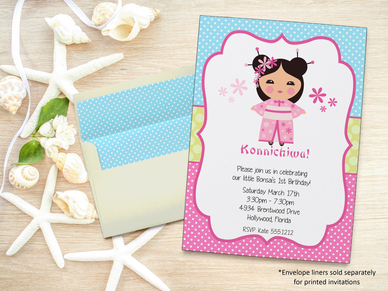 Floral Stripe Wedding Invitation Suite Floral Wedding Invitation - Birthday invitation in japanese