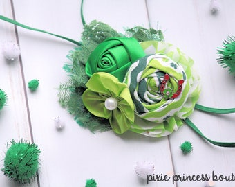 Lucky Charm - Headband, Baby Headband, Photography Prop, Couture Headband, Hair Clip, St. Patrick's Day, Green Headband, Rolled Rosette