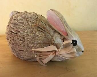 Vintage Hand Carved Bamboo Bunny Rabbit Figure for Easte.r Nursery Decor