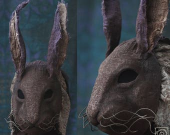 Rabbit Mask with Cowl - Hand made, Papier maché, Paper clay, Hare, Bunny, Creepy, Halloween Costume