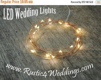 CLEARANCE limited supply LED Battery Operated Fairy Lights, Rustic Wedding Decor, Room Decor, 6.6 ft, Copper Strand LED String Lights