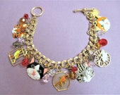 LATR 2GO Bracelet Whimsical Hungry Kitty Charm Bracelet Lunch at the Ritz Vintage Cat Theme Kitties Cats Fish Bowl Mouse Bird Cage Charms
