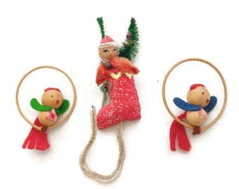 Vintage lot 3 Christmas Ornaments 1950s Santa pipe cleaner  birds stocking