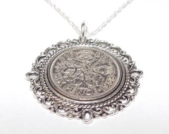Fancy Pendant 1958 Lucky sixpence 60th Birthday plus a Sterling Silver 18in Chain
