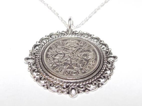 Fancy Pendant 1948 Lucky sixpence 70th Birthday plus a Sterling Silver 18in Chain CTCpUAMpCE