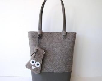 Handbag, tote, shoulderbag, shopper, felt, gray, fall fashion, winter fashion