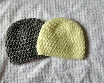 2 Pack newborn crochet beanies hats