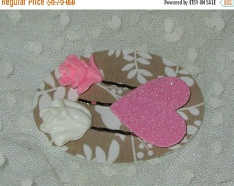 Summer Sale Set of 3 Bobby Pins, Pink Resin Rose, Cream Resin Rose and Pink Glittered Heart