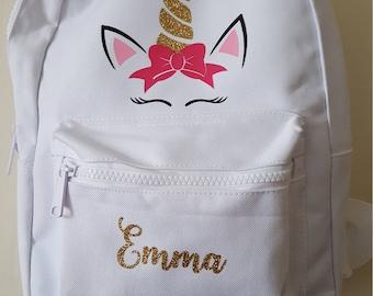 Personalised Unicorn Backpack - Unicorn Backpack - Book Bag - Personalised backpack - Nursery Bag - School Backpack  - unicorn bag