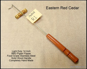 Red Cedar Wood  BBQ / Grilling Meat Hook, Stainless Steel Flipper, Pig Tail Tool