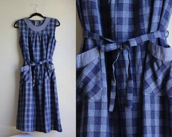 BLUEautiful Jumper ||| Blue Plaid Pocketed Dress ||| Union Made ||| Medium