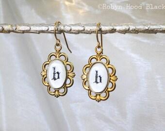 Letter B Earrings Hand Stamped Vintage Letterpress Gothic Font in Vintage Brass Settings