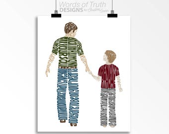 Deuteronomy 6:5-7 - Father and Son -  Word Art Print - Father's Day