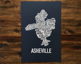 Asheville, North Carolina Neighborhood Screen Print Map