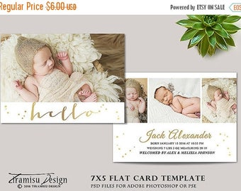 ON SALE Birth Announcement Template, Photography Photoshop 7x5in Card Template, sku 16-4
