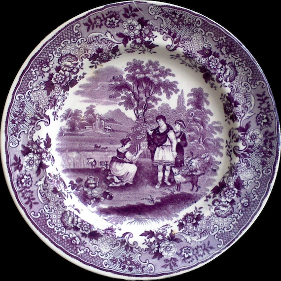 """Antique Purple Mulberry Transferware Plate, 8"""", Ironstone, P. Regout Ruth Boas, Floral, 1800s, English, Plum Display, Wall Decor, Early"""