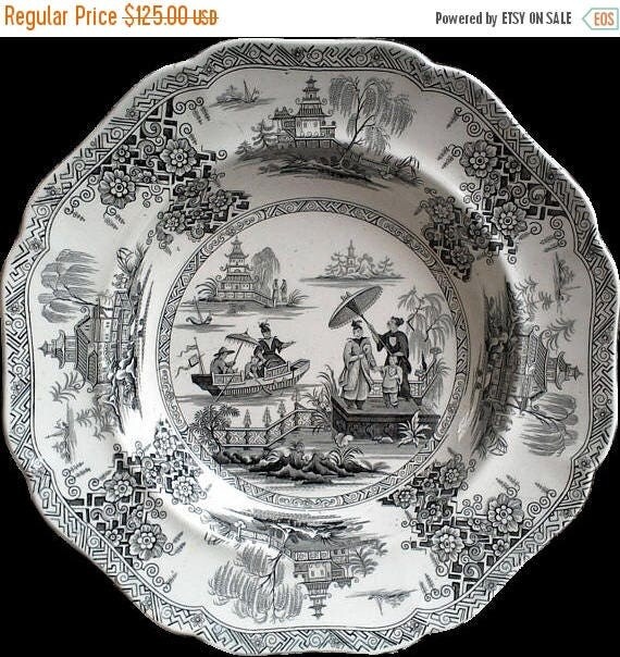 Antique Black and White Chinoiserie Napier Soup or Stew Bowl Black Transferware Serving Cabinet Bowl