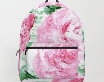 Rose Backpack, rose bag, pink backpack, floral bag, floral backpack