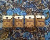 Spice tins, vintage mini spice tins / metal spice canisters / 1970s kitchen decor / Allspice, Nutmeg, Cinnamon, Ginger tins / spice storage