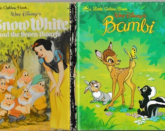 Bambi and Snow White - Two Classic Vintage Childrens Books - Walt Disney Stories - Little Golden Books