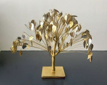 vintage  Dream Tree gold silver sparkly glam art sculpture boho