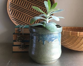 vintage studio pottery planter earthy decor blue and gray drip signed Jacala