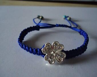 Adjustable Tibetan bracelet blue clover four leaf