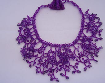 Purple coral necklace with pearls and cubic