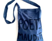 Poete Maudit French Belly blue cotton bag