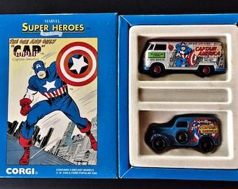 Vintage Corgi Toys Limited Edition CAPTAIN AMERICA Marvel Super Heroes VW Van & Ford Van Diecast Models Set 1 of 5000