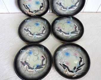 Vintage Japanese moriage hand painted Kutami Dragon ware porcelain side plates, set of 6