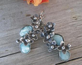 raw blue aragonite (China)-Earrings