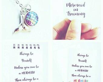 Mermaid gift set, mermaid charm, mermaid tale, mermaid notebook, pin badge, mermaid gift box, mermaid gift for girls, mermaid card, Gift box