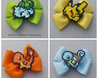Pokemon Hair Bows - Pokemon Bow Ties - Pikachu Hair Bow - Bulbasaur Hair Bow - Charmander Hair Bow - Squirtle Hair Bow