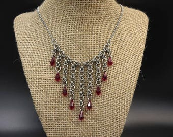 Red Swarovski Crystal Stainless Steel Waterfall Chainmaille Necklace