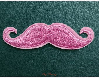Embroidered patch fusible mustache pink clear x 1