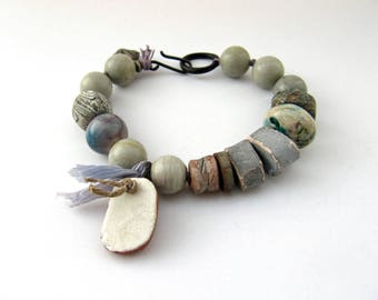 In Hushed Concert - rustic pale blue grey bracelet with artisan ceramics and jasper; faded shabby boho bracelet; unique primitive bracelet