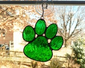 Stained Glass Paw Suncatcher, Animal Paw, Green, Paw Print, Pet Loss Gift, Dog Gift, Dog Paw, Pet Lover Gift, Cat Paw, Irish Gift