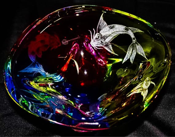 Hand Engraved Bowl Koi Fish, Koi Fish, Home Décor Centerpiece Bowl, Hand Made Bowl, Wedding Gifts, One of Kind