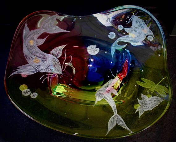 Hand Engraved Large Bowl Koi Fish, Engraved Koi, Centerpiece Bowl, Koi Fish, Large Bowls Etched, Home Decor, Koi, Engraved Glass, crystal