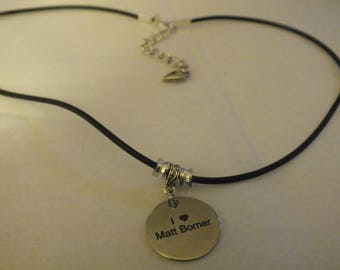 I Love Matt Bomer necklace (black rubber)