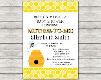 Honey Bee Baby Shower Invitation, Bumble Bee Baby Shower Invite - Printable File or Printed Invitations
