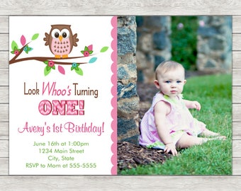 Owl 1st Birthday Invitation, Owl Girl Birthday Invitation - Digital File (Printing Services Available)