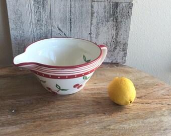 Cherry Mixing Bowl - Red Cherry Bowl - Cherry Kitchen Decor - Mixing Bowl Pitcher