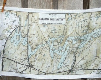 Kawartha Vintage Map Tea Towel - FREE SHIPPING