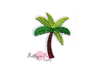 Two Tone Palm Tree On Patch Embellishment - Applique- Embellishment- DIY Headband Supply- applique - patch - Embroidered Patches